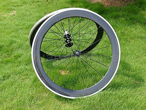 Pneu de vélo de route en carbone 3K brillant complet jante Roue 60mm en alliage de frein côté...