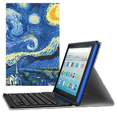 MoKo Etui pour All-New Amazon Fire HD 10 2017 (7ème Gén,modèle 2017 Seulement) - étui avec Clavier sans Fil Bluetooth en QWERTY pour Tablette Nouvel Fire HD 10 2017, Nuit étoilée