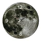 Hometime Orologio da parete, tema: stampa della superficie lunare, in vetro, dimensioni: 34 cm, movimento al quarzo