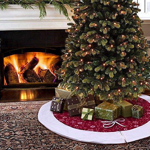 Aytai 122cm Árbol de Navidad falda Borgoña y blanco Snowflake Árbol falda Navidad Decoraciones Navidad Año Nuevo Partido de la fuente
