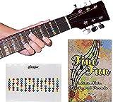 Finefun - Coloratissima tastiera adesiva 100% vinile - Note adesive per chitarra elettrica acustica a 6 corde - A prova di acqua e olio