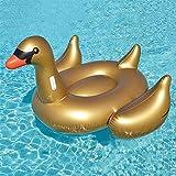 Original Cup - Pool et Beach Party - Bouée Gonflable Cygne, Bouée Swan, Jeux de Piscine d'Été, Bouée Piscine PVC, Flotteur Géant, 190 x 190 x 150 cm - Cygne Doré