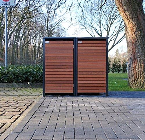 *BBT@ | Premium Mülltonnenboxen für 2 Tonnen je 120 Liter Grau / Front-Edelholz / Vollverzinkte Bleche hochwertig pulverbeschichtet / Fronttür Edelholz*
