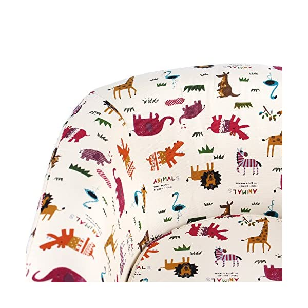 Emall Life Kid's Luxury Armchair Children's Tub Chair Cartoon Sofa Wooden Frame (Animals) Emall Life Beautiful cartoon fabric, easy to coordinate; Strong wooden frame, for durability High density foam, for added comfort; Sturdy legs, for a real furniture look Chair size: W50 x D41 x H43 cm; Recommended age: 2-4 years old 6