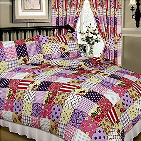 Super King Size Bed Patchwork Berry, Superior Quality 68 Pick Duvet / Quilt Cover Set, BY HICO, Floral Damask Polka Dots Spots Flowers Thatch Weave Tartan Check, Purple Aubergine Plum Pink Cream White Beige