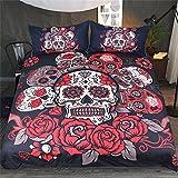 Parure de Lit 3D Skull Roses Gothique Noir Gris Rouge Impression Tête de Mort Couverture de lit Microfibre avec Fermeture à Glissière Housse de Couette et Taies D'oreiller (Noir & Rouge, 220x240cm)