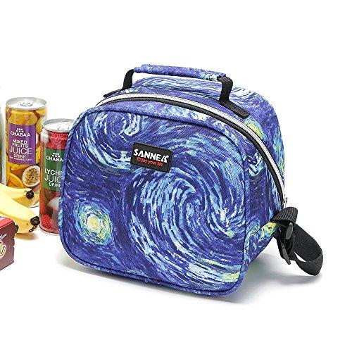 Bolsa isotérmica para el almuerzo Yvonnelee, bolsa aislante para transporte de alimentos, nevera portátil para oficina, tamaño pequeño, 6litros azul