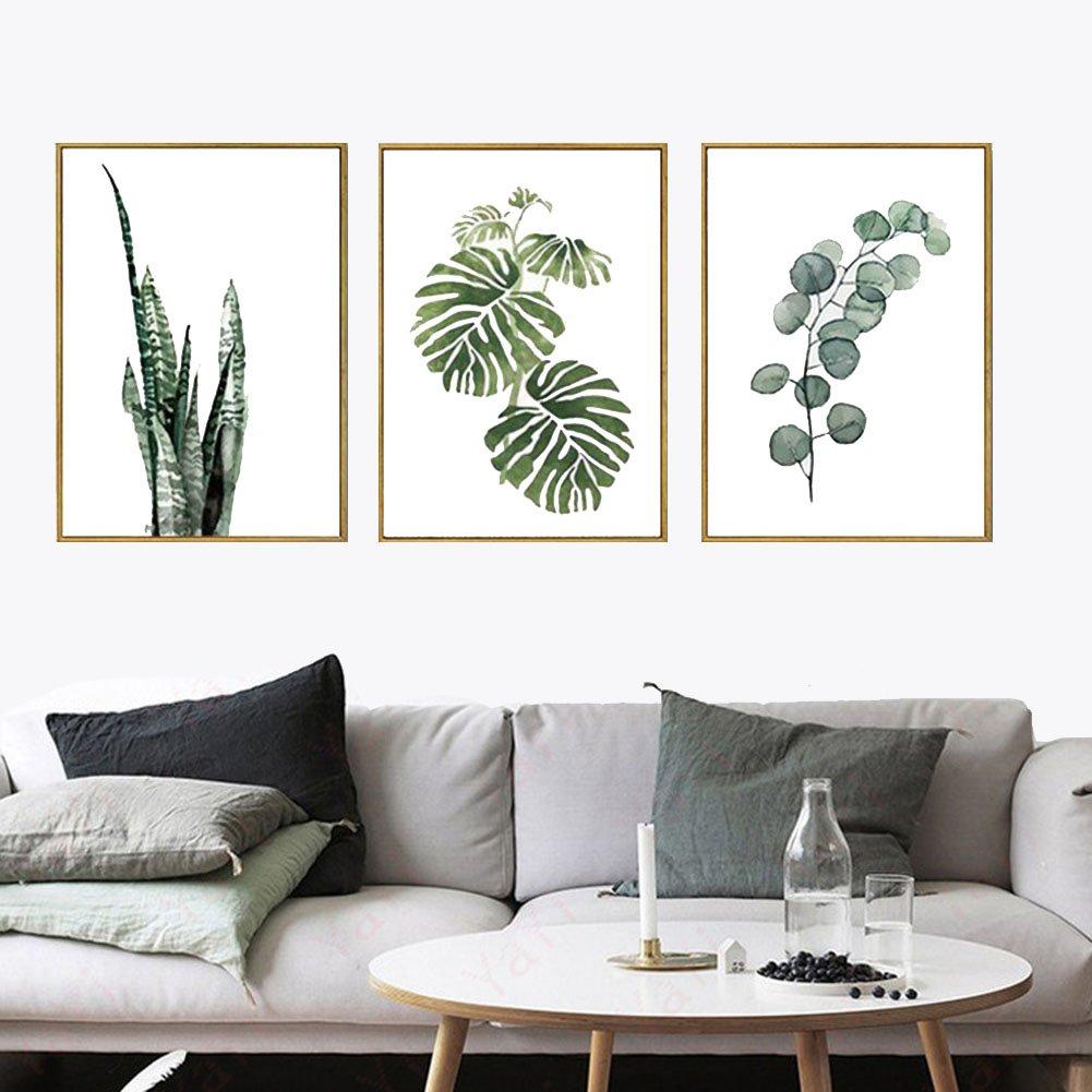 foglie verdi quadri di tela muro arte disegno moderno per soggiorno ...