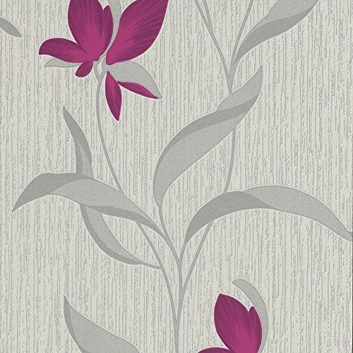 Fleur, colore: viola con fiori 9730-09-Carta da parati, con Glitter, colore: argento