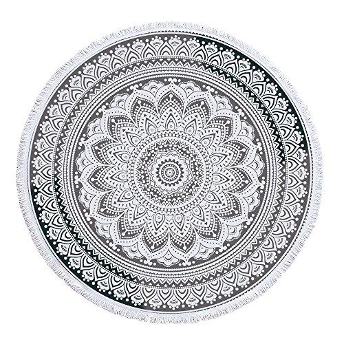 bewave indischen Mandala rund Strand Decke mit Fransen, weiches, atmungsaktives Quasten Handtuch zum Aufhängen, Dekoration Hippie Yoga mat-sunscreen Schals Wrap Rock schwarz / weiß