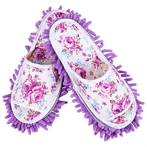 Waschbare Mopp Hausschuhe Abnehmbare Mikrofaser Haus Hausschuhe Staub Dirt Haar Reiniger Multi Funktion Boden Reinigung Schuhe Abdeckung(Lila)