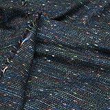 kawenSTOFFE Tweedstoff schwarz blau grün rot meliert