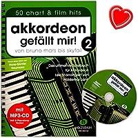 """Accordéon """"J'aime bande 2avec CD–de Bruno Mars à Skyfall–Le livre ultime Jeu pour accordéon, facile arrangés–avec cœur Note colorée Pince"""