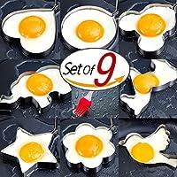 8stampi per uova in acciaio inox con 1Pennello in silicone, Pancake stampi cottura utensili da cucina uovo Anello, Pancake stampi per bambini - Anello Dart