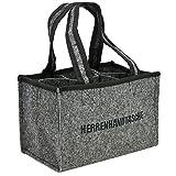 COM-FOUR® Herrenhandtasche, Filztasche, Flaschentasche aus Filz für 6 Flaschen bis 0,5 L, grau/schwarz, 24 x 15 x 15 cm (01 Stück - Filz)