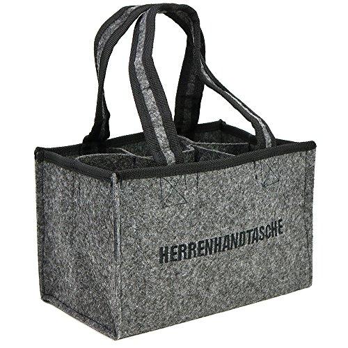 COM-FOUR® Herrenhandtasche, Filztasche, Flaschentasche aus Filz für 6 Flaschen bis 0,5 L, grau/schwarz, 24 x 15 x 15 cm (01 Stück)