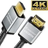 Cavo HDMI 2m, POSUGEAR 2.0 a/b alta velocità Supporta 4K 60Hz Ultra HD/Full HD 1080p/ 3D/ Ethernet/HDR Nylon Intrecciata Conn