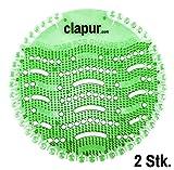 clapur Urinalsieb (2 Stk.) mit Austausch-Indikator und Spritzschutz, für jedes Pissoir und Urinal, rund (2x Gurke-Melone)