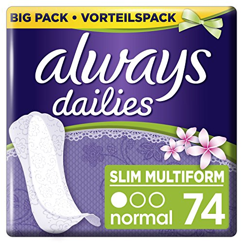 Always Slipeinlagen Slim Multiform Fresh, Vorteilspack, 1er Pack (1 x 74 Stück) (Slipeinlagen Atmungsaktive)