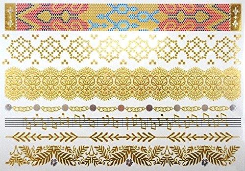 Tatouages Temporaires éphèmere couleurs et doré PROMO TATOUAGES (si vous désirez achetez plusieurs planches : 2 achetées au choix = 2 gratuites en plus au choix. 3 achetées au choix = 3 gratuites en plus au choix. 4 achetés au choix = 4 gratuites en plus au choix. 5 achetés au choix = 5 gratuites en plus au choix). TATOUAGES METALLIQUES TEMPORAIRES DOREE ET ARGENTEE NON TOXIQUE. Waterproof.