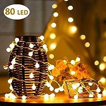 AOOKEY Cuerda Luces - 80 Bombilla 10M Guirnarldas Blancas de Luz Cálida LED Luces del Efecto