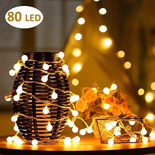 AOOKEY Lichterkette 10 Meter 80 LED Globe Lichterkette Warmweiß für Weihnachten, Hochzeit, Party, Zuhause sowie Garten, Balkon, Terrasse, Fenster, Treppe, Bar, etc (Halloween Tumblr Transparent)