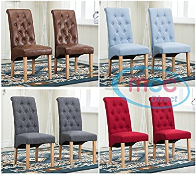 Set of 2 Linen Fabric Dining Chairs Roll Top Scroll High Back For Home & Commercial Restaurants [Brown* Grey* Red* Blue*] - cheap UK light shop.