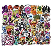 GYYNR 50 pcs Mixed Horror Skeleton Sticker Graffiti Dark Cool Stickers for DIY Luggage Laptop Helmet Luggage Skateboard Stickers
