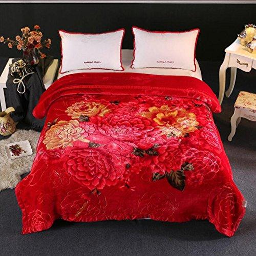 Xuan - worth having Big Red Blumenmuster Herbst Und Winter Modelle Kristalldecke Abdeckung War Decke Individuelle Umweltschutz Druck (195 * 225 cm)