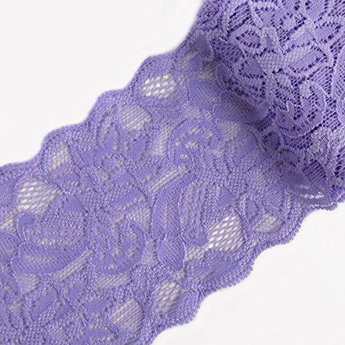 LaRibbons 7.6cm Blumen elastische Spitze-Ordnung, feste Spitze Stoff für Craft - 10 Yard (Lavendel)