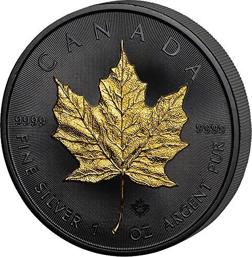 Silber Leaf Kanada Maple (GOLDEN ENIGMA Maple Leaf Black Ruthenium 1 Oz Silber Münze 5$ Canada 2016)