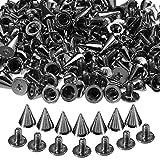 100pcs 10mm Pyramiden Nieten Kegel Schraube Metall-Ziernieten Spikes Spitz Gothic (Schwarz-Silber)