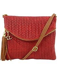 Tuscany Leather - TL Bag - Sac bandoulière en cuir imprimé tressé avec pompon - Rouge