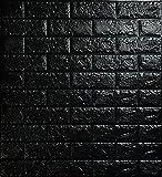 Cnse 5pcs 3d Mur de briques Stickers, mousse PE Autocollant Papier peint amovible et étanche Art mural carrelage TV Canapé Fond Décoration de salon noir