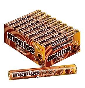 Mentos Choco Schokolade und Karamell | Dragees mit Toffee Geschmack | Karton mit 24 Rollen Bonbons | Multipack Karamellbonbons