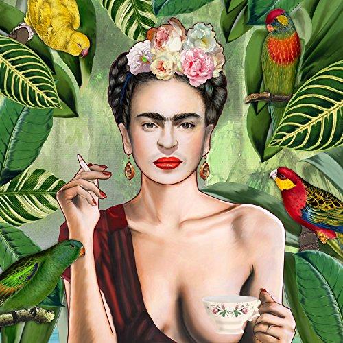 "JUNIQE® Leinwandbild 20x20cm Frida Kahlo - Design ""Frida Con Amigos"" (Format: Quadrat) -..."