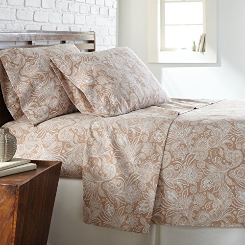 Feines Hemd southshore Linens-Mikrofaser Bedruckt Tabelle Sets Collection Twin Taupe with White Paisley - Paisley Twin-set