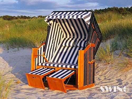 Strandkorb XXL - Luxusstrandkorb - aus Holz und Polyrattan (Blau)
