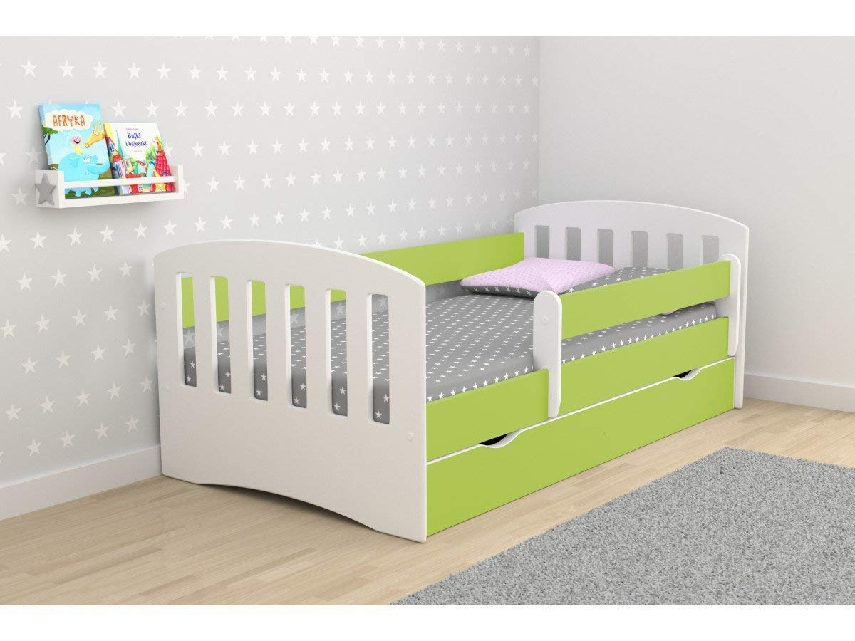 Toddler Bed Kids Bed Junior Children's Single Bed with Mattress and Storage Included - Classic (180x80, Blue)  Wonderhome24