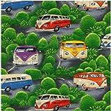 Fat Quarter VW Camper Vans On Tour grün Quilting Stoff?Nutex?50x 55cm