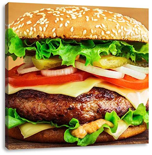 Delicious burger su tavola di legno, dimensioni: 40x40 su tela, xxl immagini enormi completamente pagina con la barella, la stampa arte murale con telaio meno costoso di pittura o pittura ad olio, nessun manifesto o poster