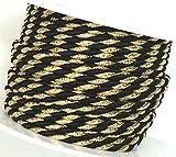 KORDEL 15m x 4mm schwarz - gold Drehkordel KORDELBAND Dekoband Trauerkordel Trauerband