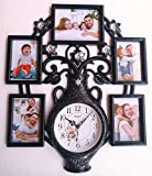 #4: THINK3 Family Photo Frame with Premium Colour combination with Artistic Flowervase Wall clock for Home Decoration and Luxury Gifts