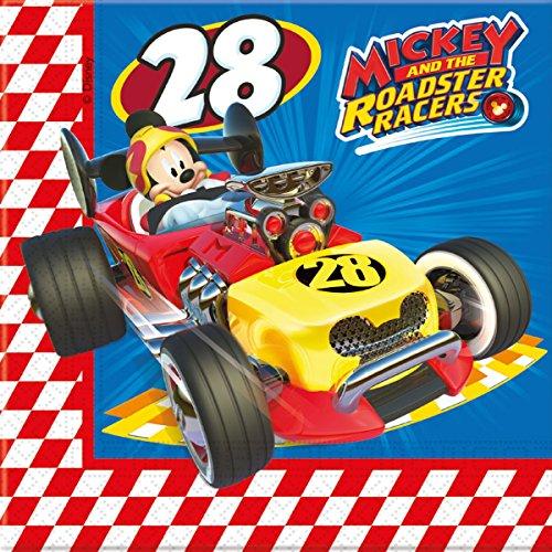 EY ROADSTER * von Disney für Kindergeburtstag oder Motto-Party // Party Napkins Motto Mickey Maus Mouse Autos Rennautos Rennen ()