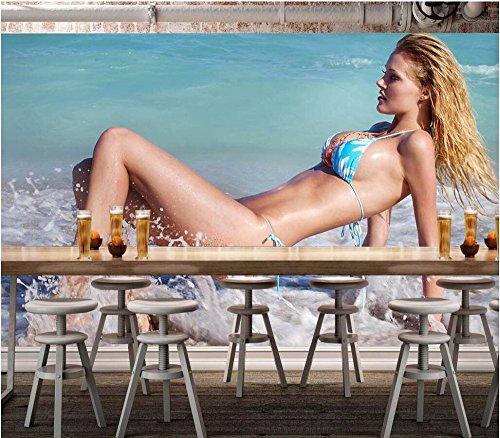 BZDHWWH Benutzerdefinierte Wandgemälde Foto 3D Wallpaper Schönheit Der Strand Bikini Hintergrund Dekor Malerei 3D Wandbilder Tapeten Für 3D-Wand, 170 Cm (H) X 255 Cm (W) (Bikini-blase)