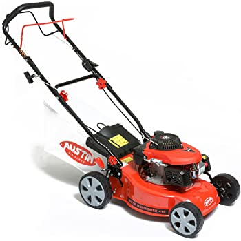 "BMC Austin MiniMower 16"" 3HP 99cc Self Propelled Recoil Start 4 Stroke Petrol Lawn Mower with 7 Cutting Heights, Single Lever Height Adjustment, 45 Litre Collection Bag & Drive Speed Control - 2 Years Warranty"