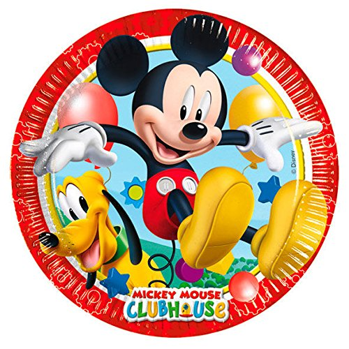 Procos 81840 - Mickey Mouse Club House (Ø20 cm) Pappteller, 8 Stück, Mehrfarbig