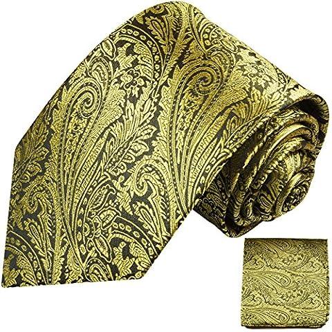 Cravate homme or noir ensemble de cravate 2 Pièces (