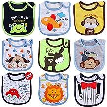 ElecMotive® - Set de 9 baberos (algodón, impermeables, suaves, con velcro, para niños de 3-36 meses)