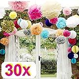 Rzctukltd 30 Mix Wedding decorations tissue paper pompoms - 3 sizes - party - pom poms